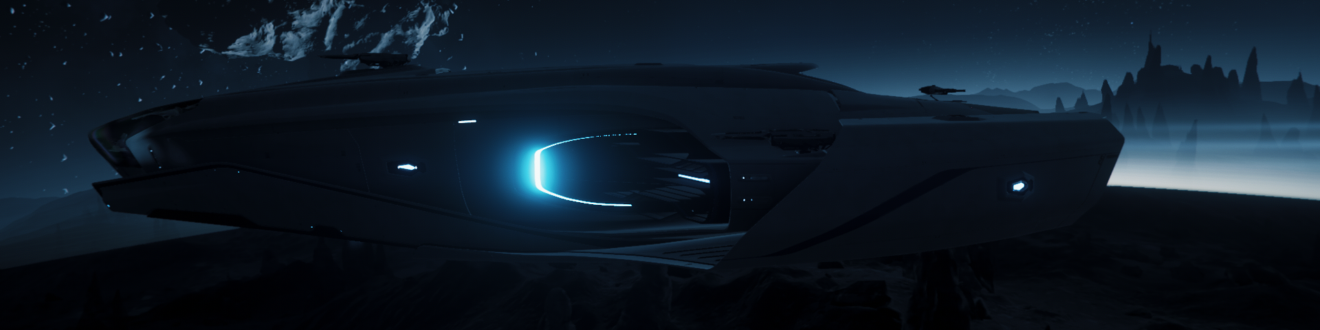 Exploration Cutter flying low over the jagged landscape of a planetoid
